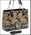 Designer Inspired Purse with Rhinestone Detail